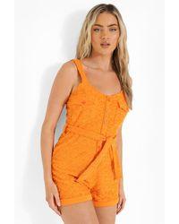 Boohoo Ofcl Embossed Towelling Romper - Orange