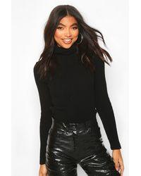 Boohoo Womens Tall Roll Neck Sweater - Black