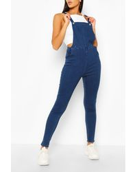 Boohoo Slim Fit Denim Overalls - Blue