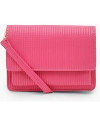 Boohoo Ribbed Soft Pu Cross Body Bag - Pink