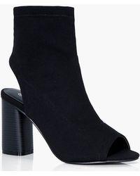 Boohoo - Wide Fit Peeptoe Sock Boots - Lyst