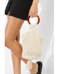 Boohoo Macrame Tassel Bucket Bag - Natural