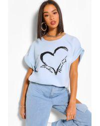 Boohoo Broken Hearted Batwing Sweatshirt Top - Blue