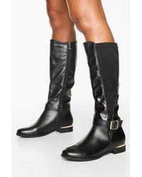 Boohoo Buckle Detail Metal Trim Rider Boots - Black