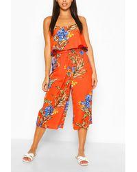 Boohoo Floral Print Strappy Overlay Jumpsuit - Orange