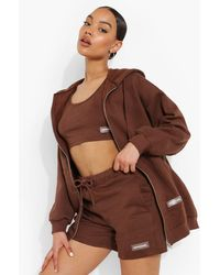 Boohoo 3 Piece Label Detail Short Tracksuit - Brown