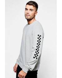 Boohoo | Crew Neck Sweaterwith Check Board | Lyst