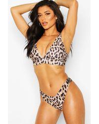Boohoo Leopard Plunge Triangle Brazilian Brief & Bikini - Brown
