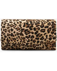 Boohoo Structured Leopard Envelope Clutch Bag & Chain - Natural