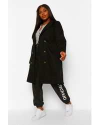 Boohoo Plus O Ring Belted Trench Coat - Black