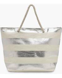 Boohoo Striped Paper Straw Beach Bag - Metallic