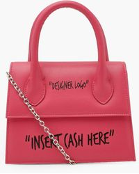 Boohoo Insert Cash Slogan Structured Cross Body Bag - Pink