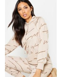Boohoo Woman Script All Over Print Oversized Hoodie - Natural