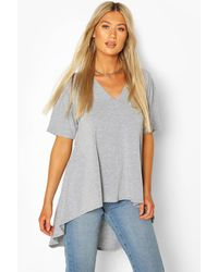 Boohoo Tall Basic Eclipse Hem T-shirt - Grey