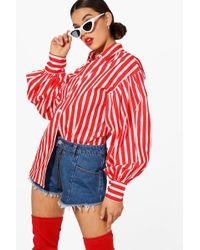 Boohoo - Candy Stripe Balloon Sleeve Shirt - Lyst