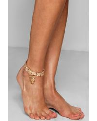 Boohoo - Lucy Cheetah Charm & Coin Statement Anklet - Lyst