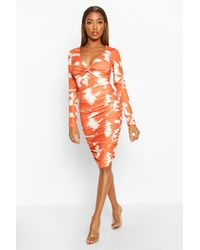 Boohoo Tie Dye Ruched Bodycon Mini Dress - Orange
