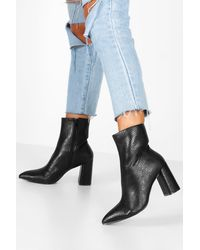 Boohoo Womens Snake Detail Pointed Sock Boots - Black