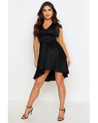 Boohoo Off The Shoulder Plunge High Low Skater Dress - Black