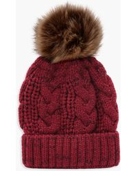 Boohoo Cable Knit Faux Fur Pom Beanie - Red