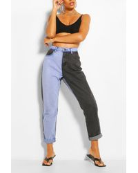 Boohoo Contrast High Rise Mom Jeans - Blue