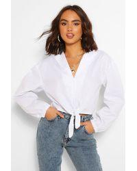 Boohoo Cotton Tie Front Shirt - Natural
