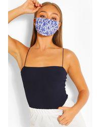 Boohoo Womens Disty Print Fashion Face Mask - Blau