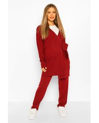 Boohoo Maternity Tie Side Cardigan Slouchy Knitted Two-piece - Red