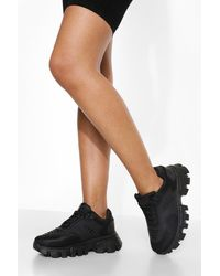Boohoo Cleated Sole Sneaker - Black