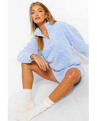 Boohoo Mix And Match Fleece Zip Up Lounge Top - Blue