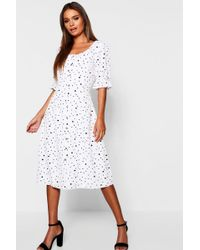 9390208c1d2 Lyst - Boohoo Dalmatian Polka Dot Button Through Midi Dress in Black