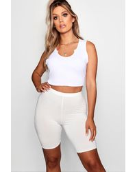 Boohoo Womens Plus Jersey Basic Cycle Shorts - White