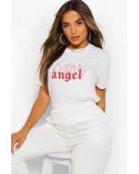 "Boohoo - T-shirt con scritta ""Angel"" Petite - Lyst"