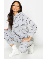 Boohoo Woman Script All Over Print Oversized Hoodie - Grey