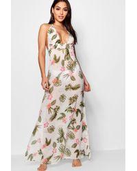 Boohoo - Tropical Maxi Beach Dress - Lyst