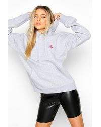 Boohoo Rose Pocket Embroidered Oversized Hoodie - Blanc