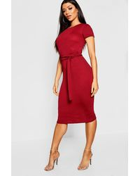 Boohoo Pleat Front Belted Tailored Midi Dress - Green