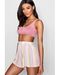 Boohoo - Stripe Flippy Shorts - Lyst
