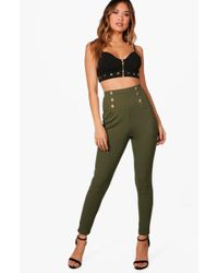 Boohoo - Bethany High Waist Button Front Slim Fit Trousers - Lyst