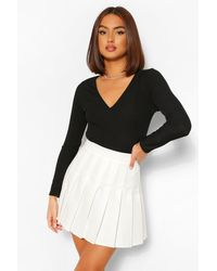 Boohoo Woven Pleated Super Mini Tennis Skirt - White