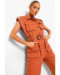 Boohoo Mono Vaquero Utilitario Con Costuras En Contraste - Naranja