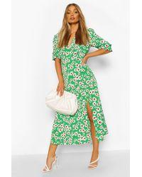 Boohoo Daisy Print V Neck Split Front Midaxi Dress - Green