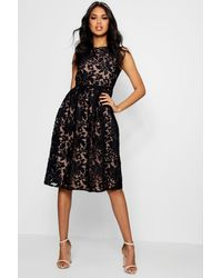 Boohoo Boutique Embroidered Skater Bridesmaid Dress - Black