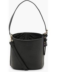 Boohoo Drawstring Cylinder Bucket Bag - Black