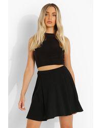 Boohoo Texture Pleat Skater Skirt - Black