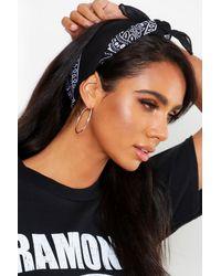 Boohoo Bandana Print Headscarf Neckerchief - Black
