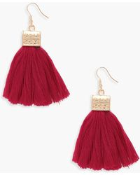Boohoo - Engraved Detail Tassel Fringe Earrings - Lyst