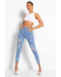 Boohoo High Rise Super Distressed Skinny Jean - Blue