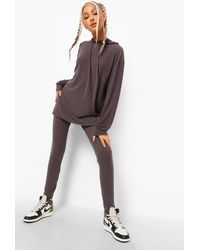 Boohoo Tall Rib Lounge Leggings - Grey