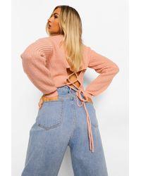 Boohoo Lace Up Back Jumper - Pink
